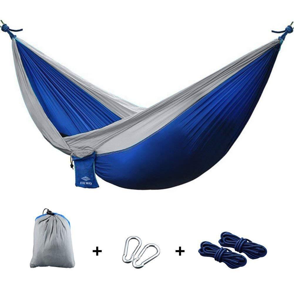 "FILWO Camping Hammock, Portable Garden Hammock Double Lightweight and UltraLight Sleeping Hammock with Tree Straps, Nylon Parachute 106""x 55"" Double Hammock for Backpacking, Travel, Yard, Outdoor"