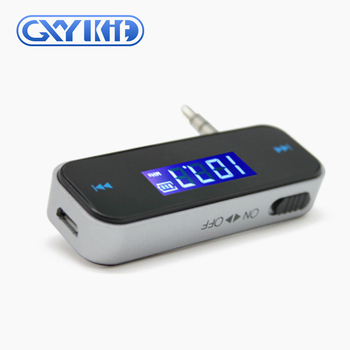 GXYKIT shenzhen supplier F1 Hot sale mini car music fm transmitter with 3.5mm aux