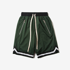 2018 summer loose fit mesh street basketball men's short elastic waistband with drawstring freestyle hip pop men's shorts