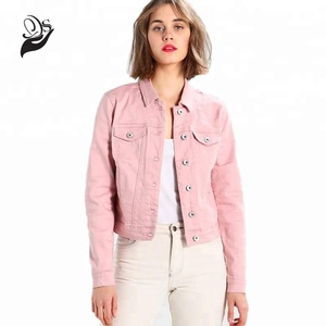 Fahion Designed Ladies Short Cotton Pink Denim Jackets