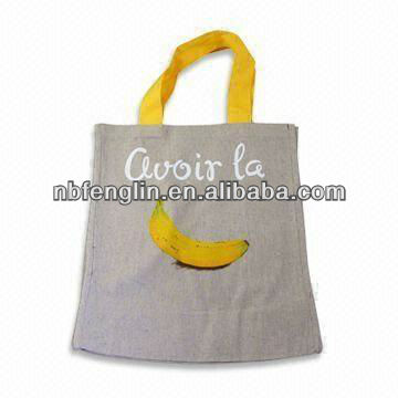 printing design cotton linen shopping bag