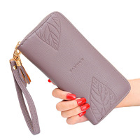FD1009 China Supplier Korea Style Hot Sale Embossed Leaf Ladies Leather Women Wallet 2019 Clutch