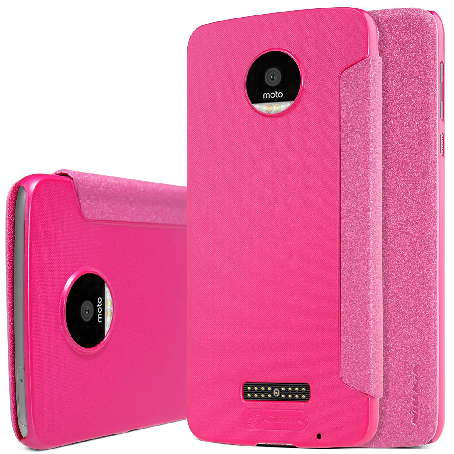 MOTO Z Play Case, Starhemei Ultra-Thin PC Back Cover Folio/Flip PU Leather Phone Case Cover For Motorola Moto Z Play Droid (2016) (Leather-Hot Pink)