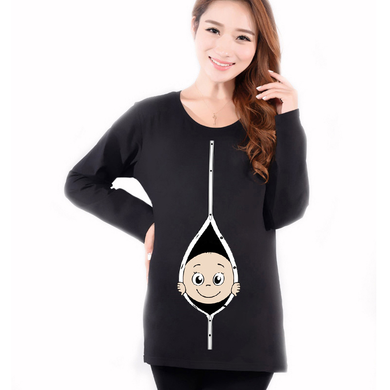 c78ea8bb5 Get Quotations · Maternity Funny Baby Peeking Out Shirts Autumn Hot Red Long  Sleeve Tops Tees Clothes For Pregnant