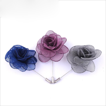 Wholesale china factory Mens Handmade wedding silk fabric flower Boutonniere brooch for Dress Clothing accessories