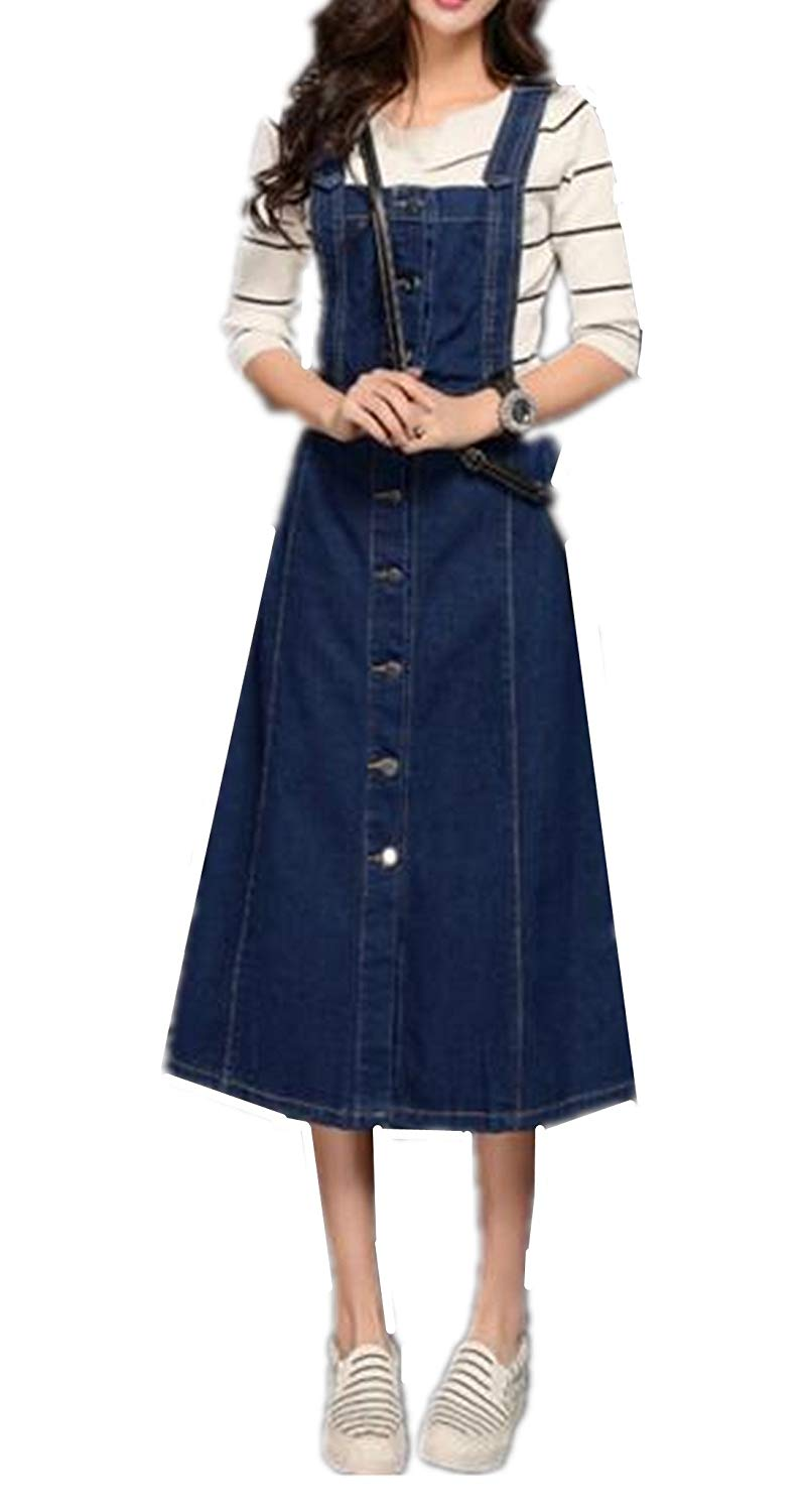6514728067a Get Quotations · Skirt BL Women s Vintage Plus Size Blue Romper Denim  Overall Jean Skirt Dress