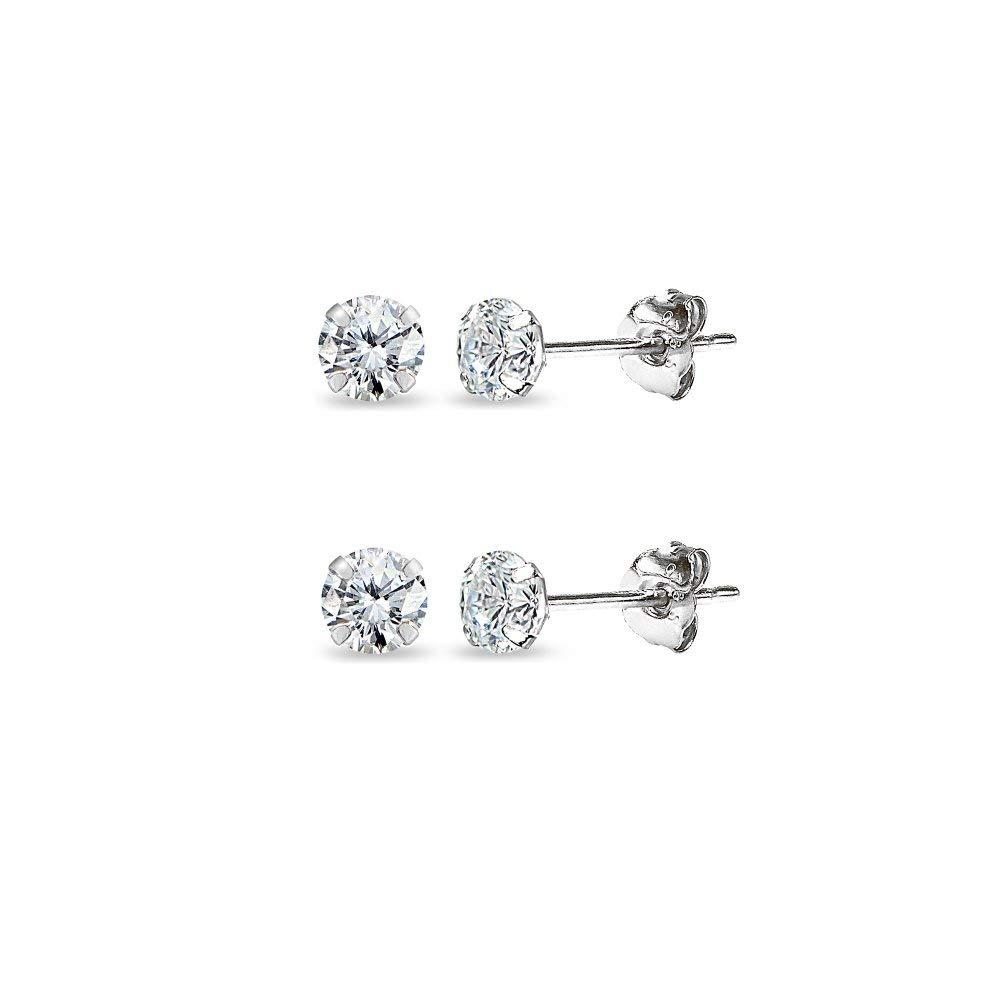 2 Pair Set 14K Gold Cubic Zirconia Tiny 3mm Round Unisex Stud Earrings for Men, Women, Boys & Girls