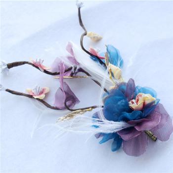 Design Wedding Purple Flower Tiaras With White Feather Buy