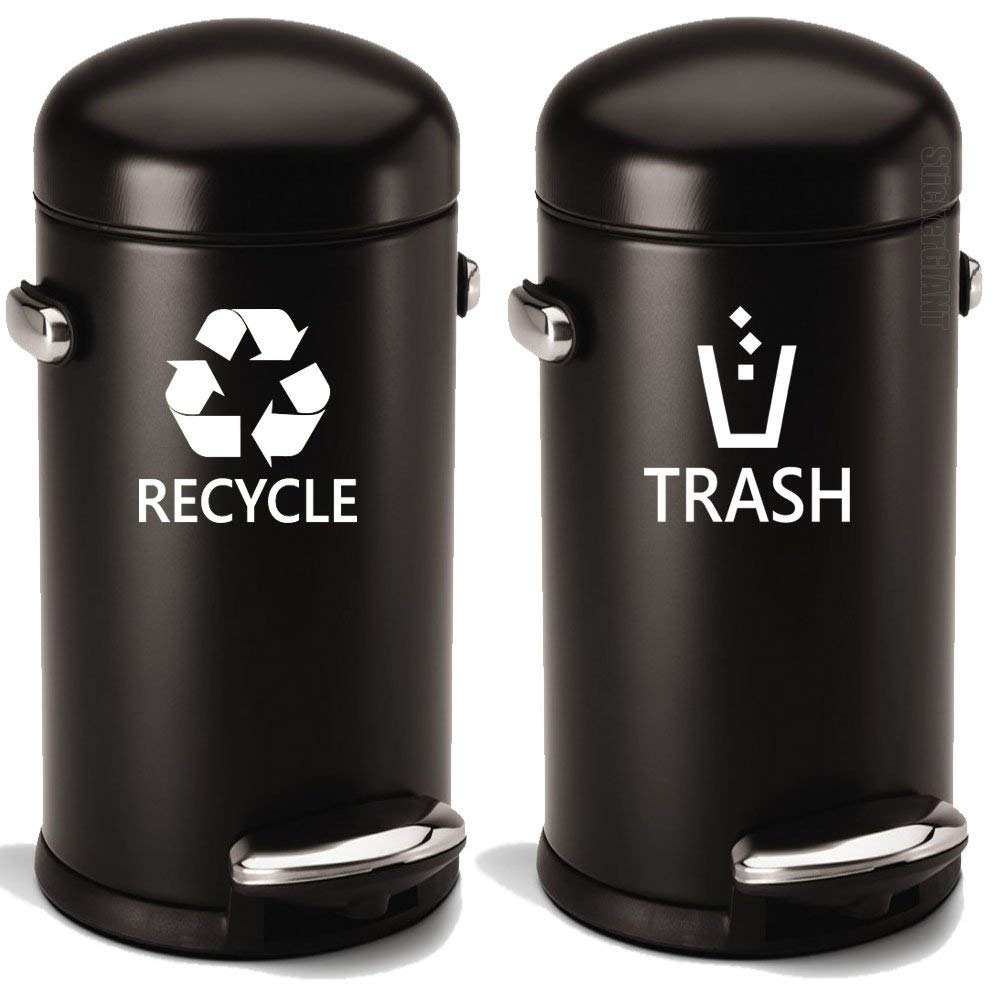 35f1056c52b Get Quotations · Recyle Trash Symbol Set (2 pcs) Style6 Decal Sticker For  Trash Can Bin Car