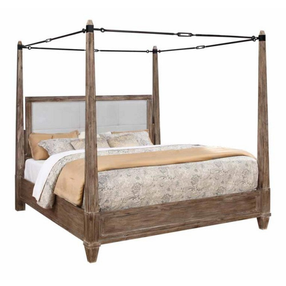 1PerfectChoice Madeleine Bedroom King Metal Buckle Canopy Bold Bed Solid Wood in Smoky Acacia Size: Eastern King