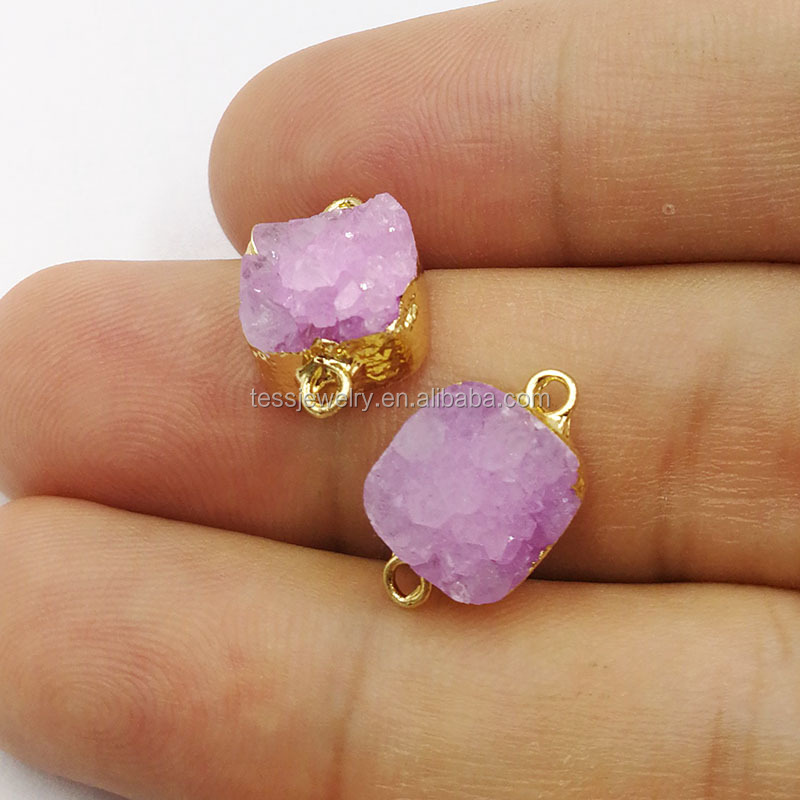 Mini square Druzy Jewelry Accessories Geode stone Double Bails Necklace Pendant Connector Stone Charms