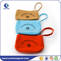 Canvas material zipper sealing &handle small clutch purse with Logo Printing