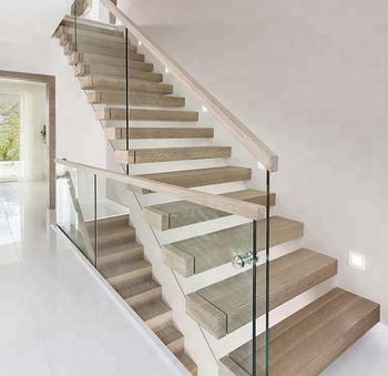 Custom Stairs Modern Glass Railing Wood Straight Staircase Design