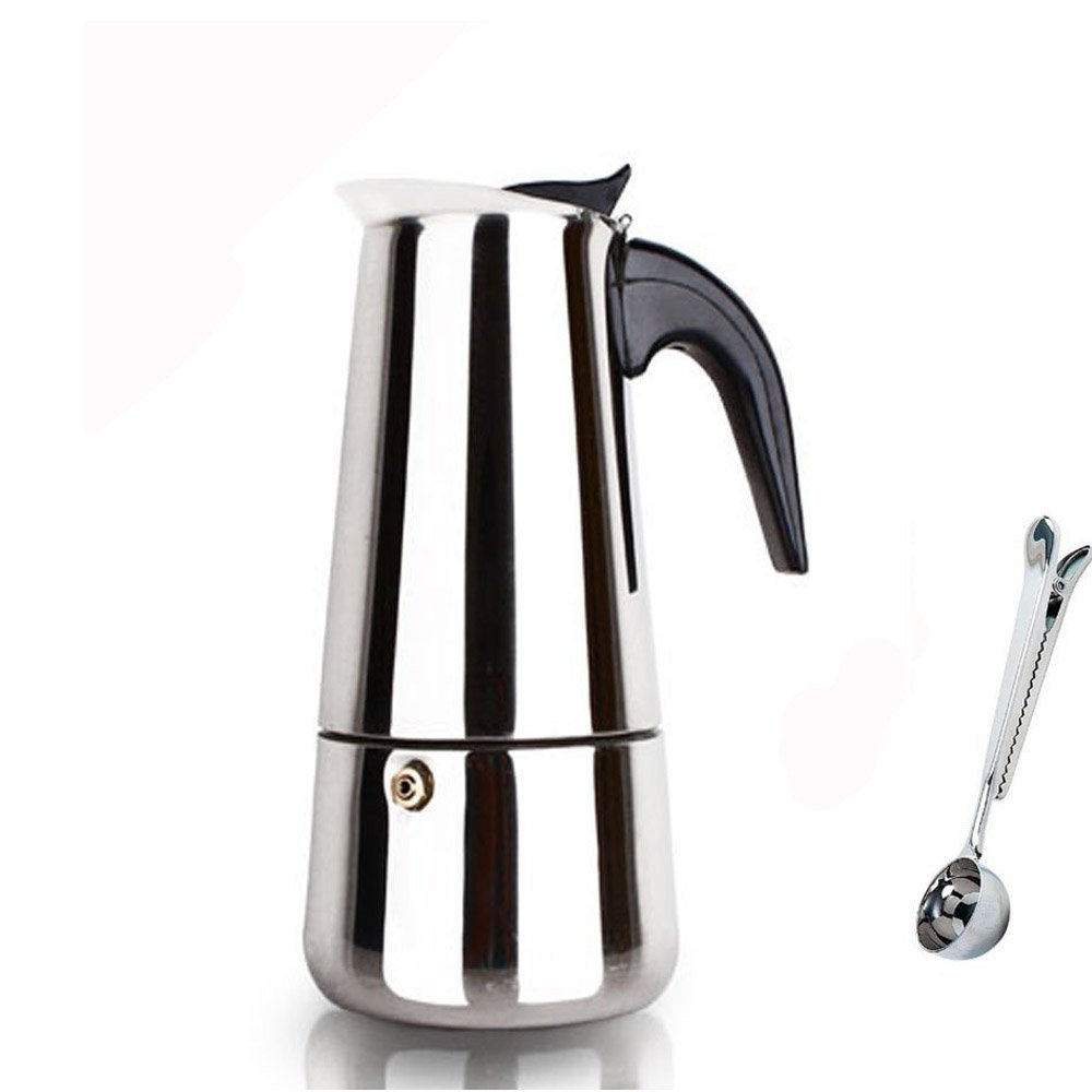 BEMINH Espresso Coffee Maker Pot Stovetop Moka Coffee Pot Stainless Steel Latte Percolator with Bonus Scoop (9 cups/450ml)