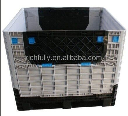 plastic collapsible storage bin for logistics transport