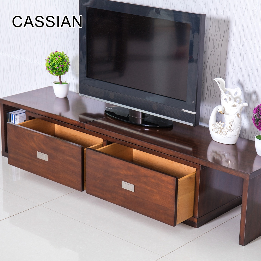 Latest model living room stretch tv lcd wooden cabinet designs