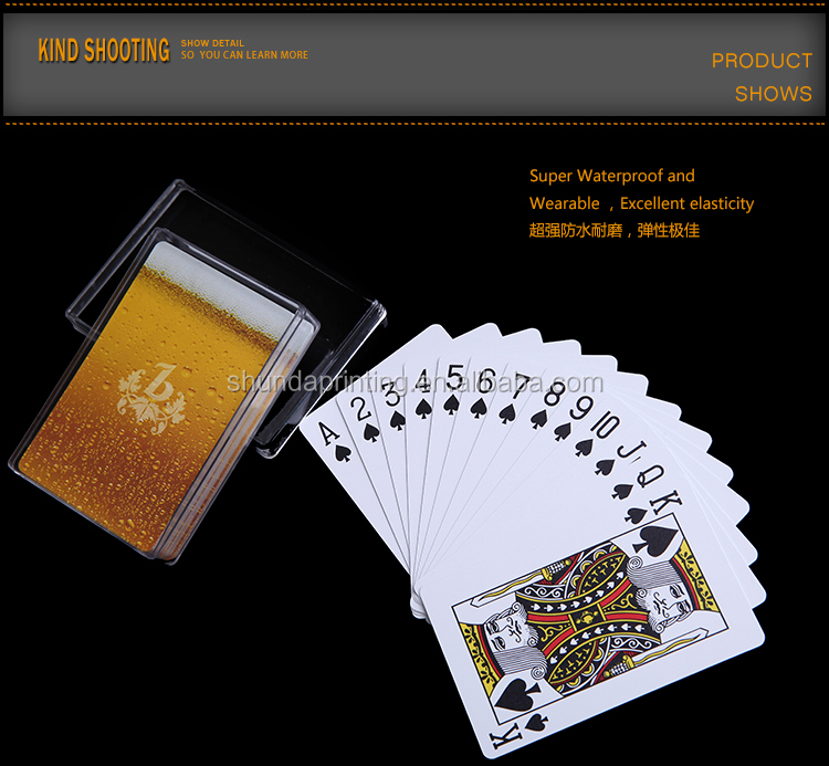Professional customized royal 100%plastic scan playing cards with low price