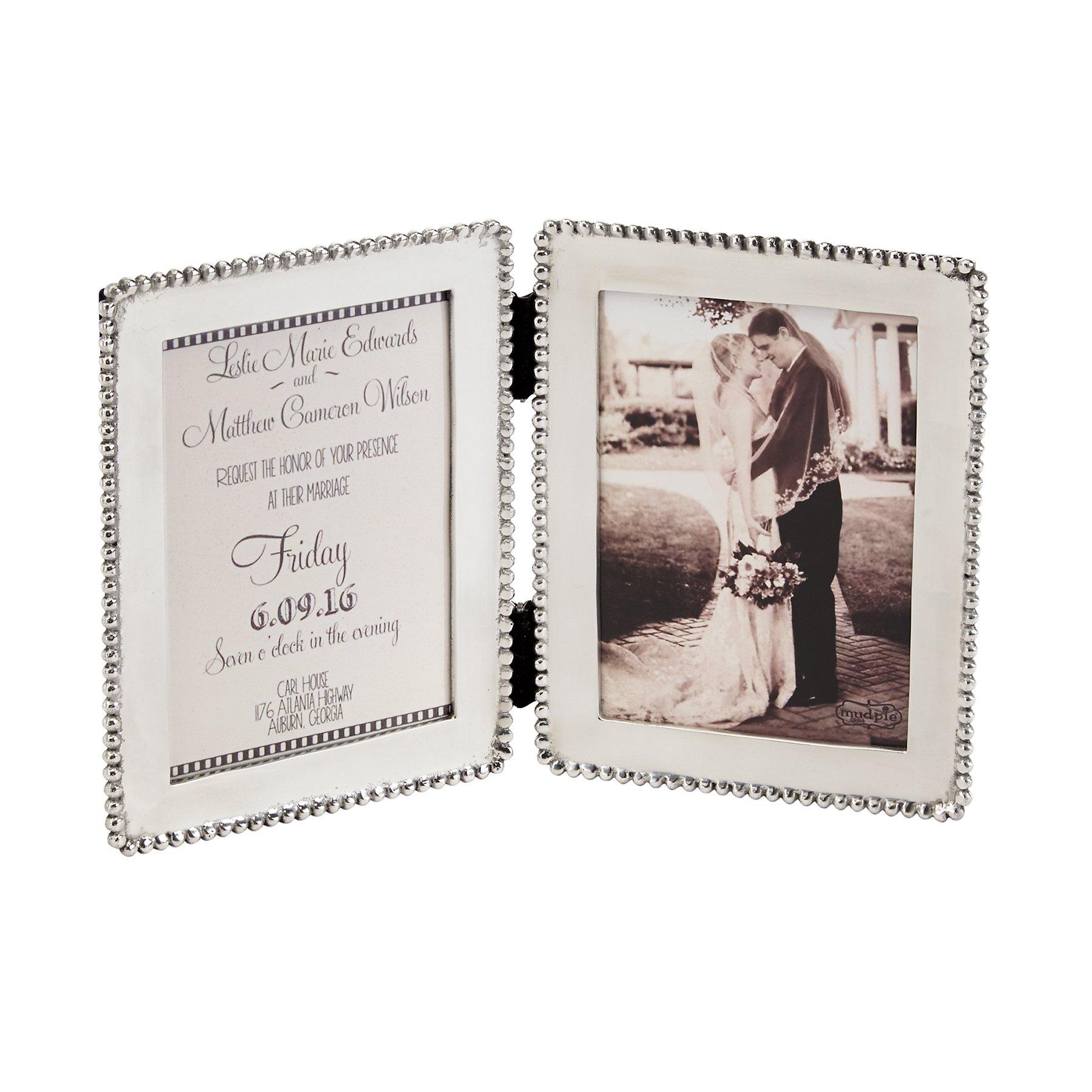 19f34bf6a5eebd Mud Pie 4691068 Polished Silver Microbead Edge Hinged Double Frame 5