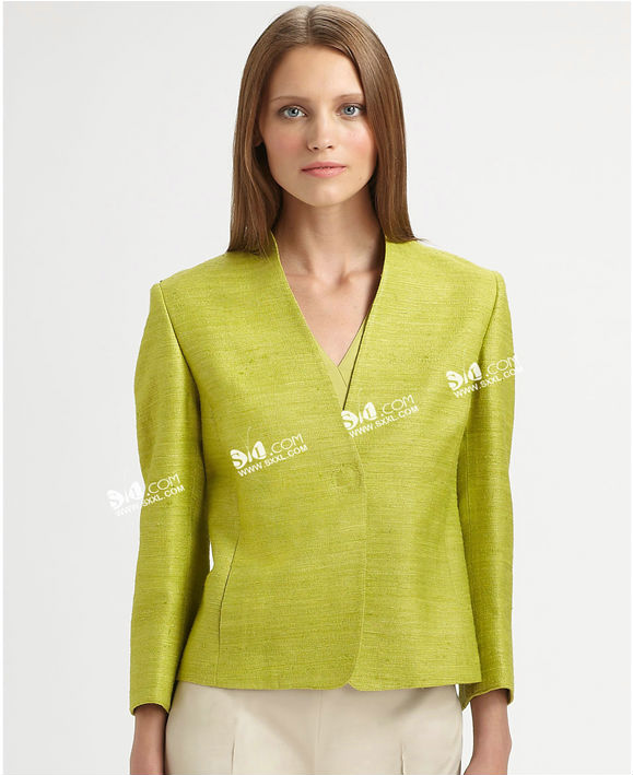 Ramie cotton yellow ladies V-nack simple suit