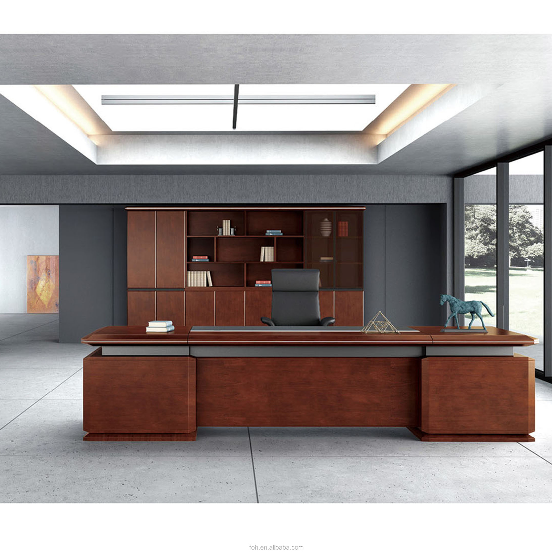 Professional Design Large Executive Desk With Credenza And