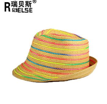 Trilby Hat Fedora Straw Paper Men Ladies Unisex Rainbow Summer Sun Hat 683617dd7a2