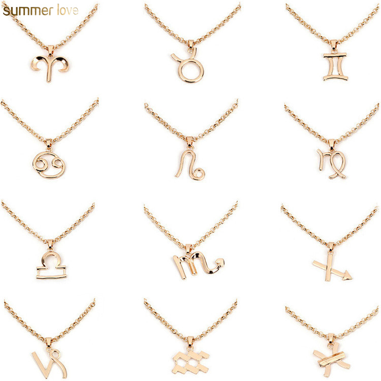 New Fashion Gold Plated 12 Horoscope Letter Necklace Pendants Astrology Galaxy Zodiac Choker Necklaces Women Birthday Jewelry