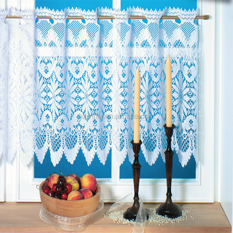 100% cuisine de dentelle de Polyester rideau cuisine rideau blanc ...
