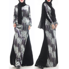 2019 winter clothes matching color printed velvet design loose simple abaya dress for muslim woman