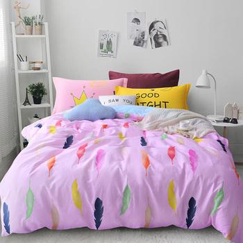 high quality pink cotton printed korean bed set