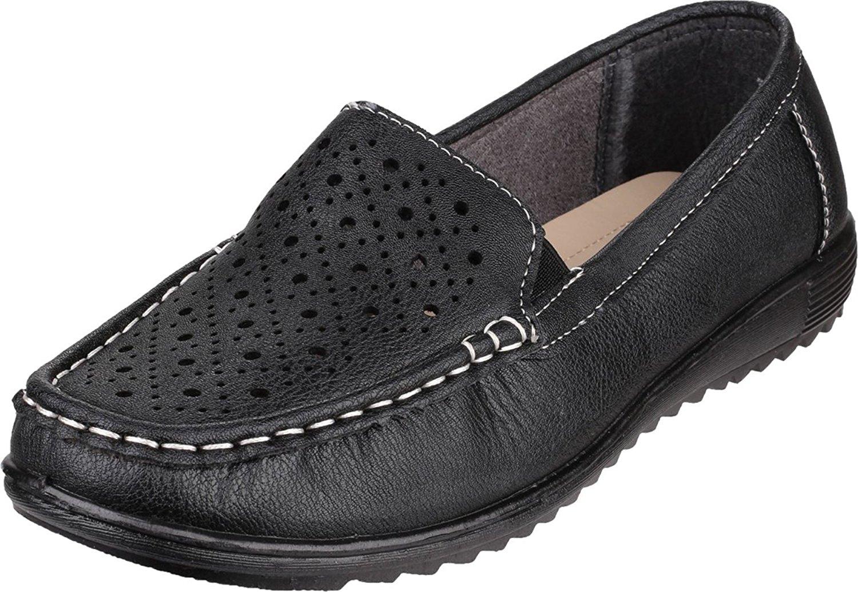 Amblers Ladies Cherwell Slip On Moccasin Style Shoe Black sH2utxhUq