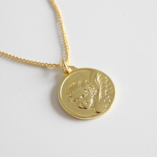 패션 jewelry 형 personalized 18 k 금 plated angel coin 펜 던 트 sterling silver necklace