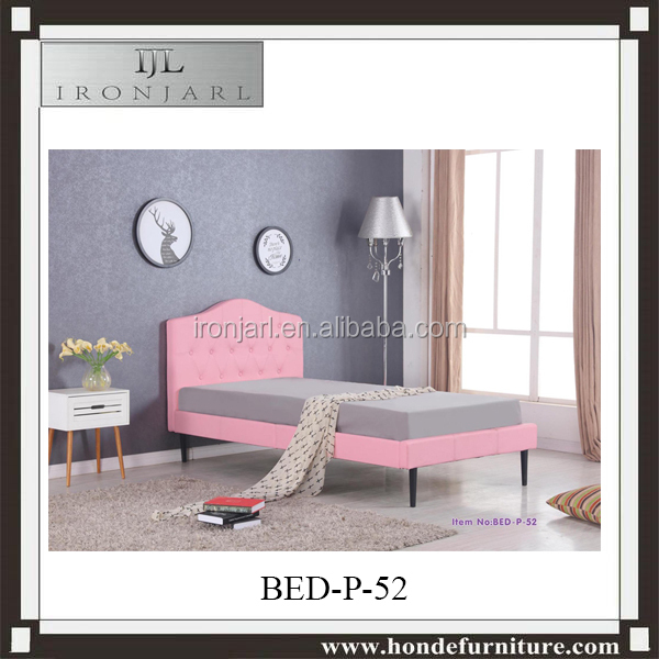 Children Girls Bed Design Pink Princess Crown Faux Leather Single Bed Y
