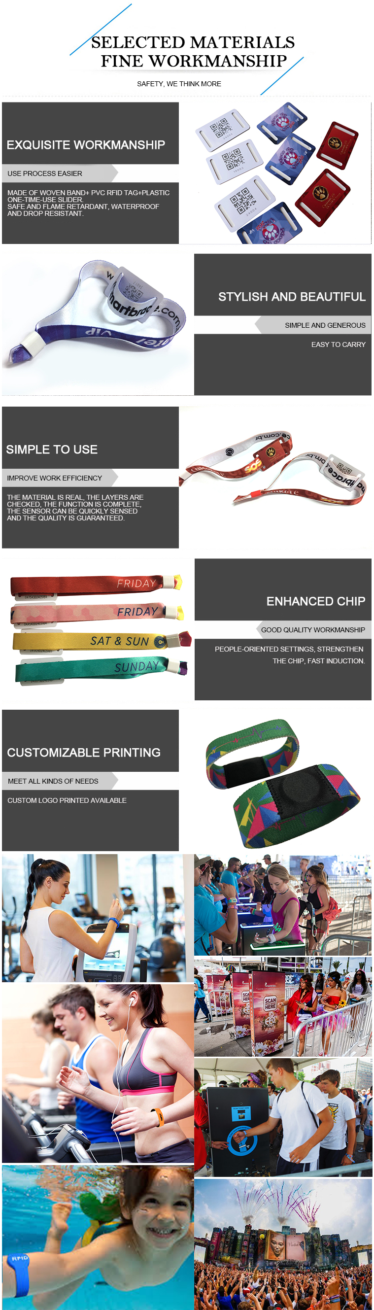 Nylon fabric rfid woven qr code wristbands/bracelet for amusement park