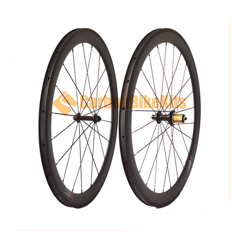 CarbonBikeKits 6 pawls road 700c carbon wheels clincher 50mm deep with alloy hubs