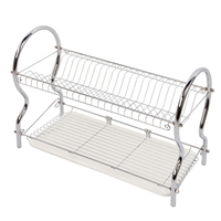 XM_442 2 tier Kitchen accessories tableware storage shelf holders chrome plated dish rack dish drainer eco-friendly