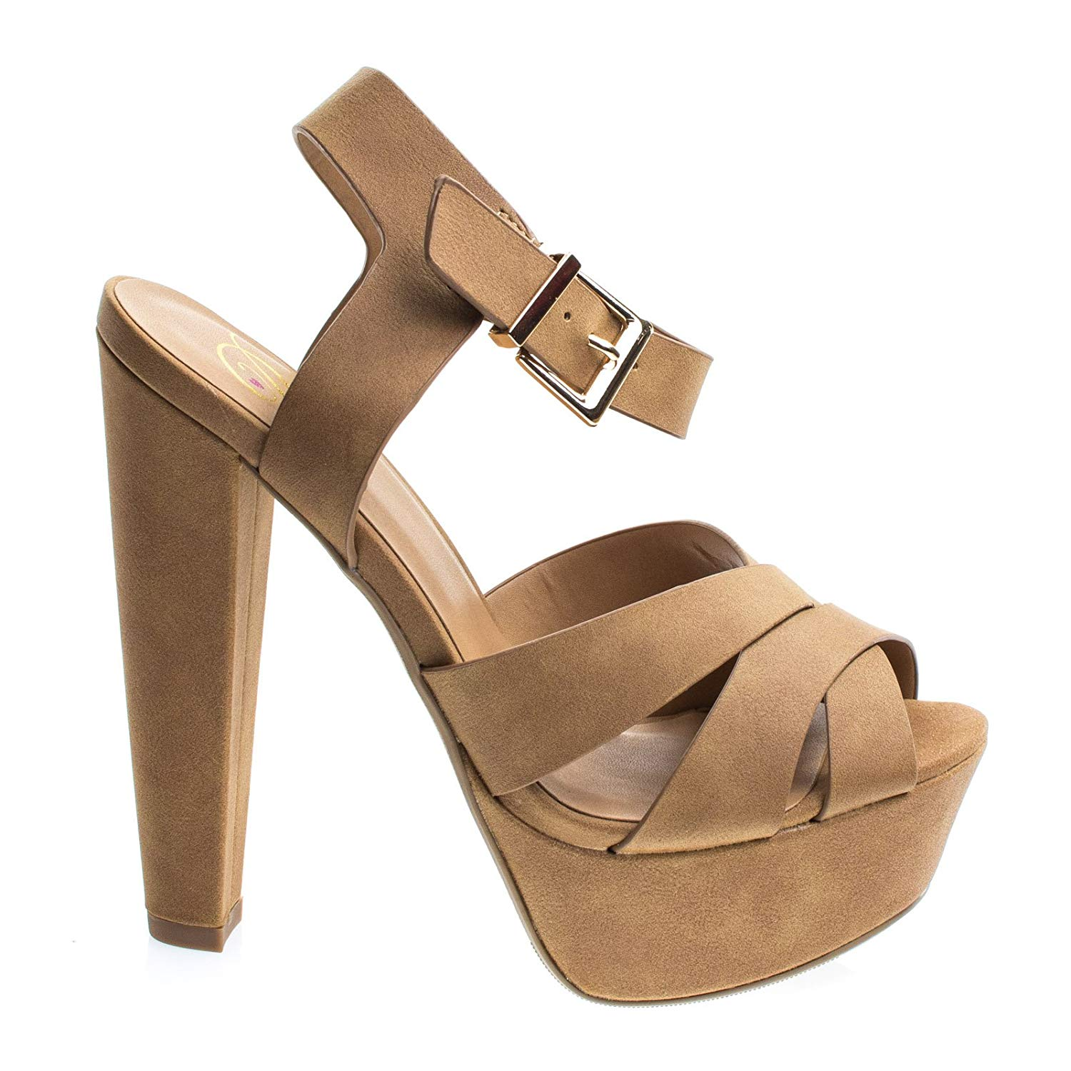 a13cd3d41fc Get Quotations · Delicious Towering High Platform Block Heel Sandal