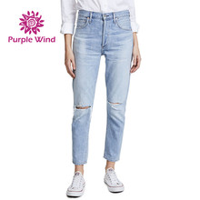 Xintang Boyfriend Denim Vrouwen Ripped Hoge Taille <span class=keywords><strong>Jeans</strong></span> Broek Fabrikant voor Vrouwen