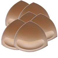Bra Pads Inserts 6 Pairs,Removeable Bra Pad for Sports Cups Bra and Bilini Pad Bra Inserts,Triangle Shape Beige or Black