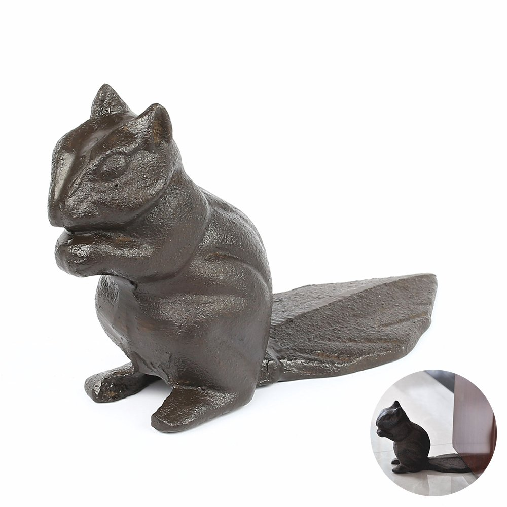 Cast Iron Door Stop, Decorative Cast Iron Squirrel Doorstops Stop Your Bedroom, Bath and Exeterior Doors in Style