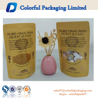 2015 custom printed food grade stand up paper kraft bag with window for 16 oz / 454 grams sea salt packaging bag