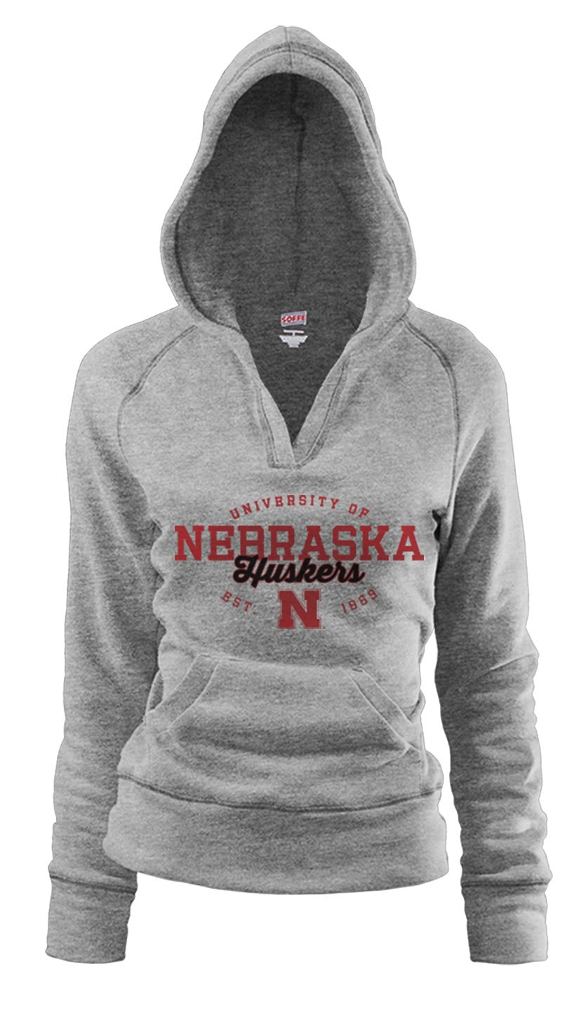 bc92a563 Get Quotations · NCAA Nebraska Cornhuskers Junior Rugby Deep College Logo  V-Neck Fleece Hoodie