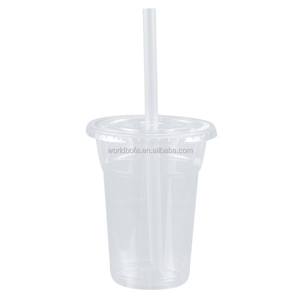 Clear Plastic Cups Disposable with Lids and Straws for Cold Drinks