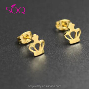 Small twinkling imperial crown lovely style girl favourite earring stud parts