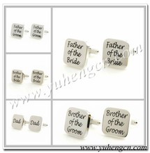 Elegant Square Brother of the Groom,Father of the Bride Wedding cufflinks with Printing Titles