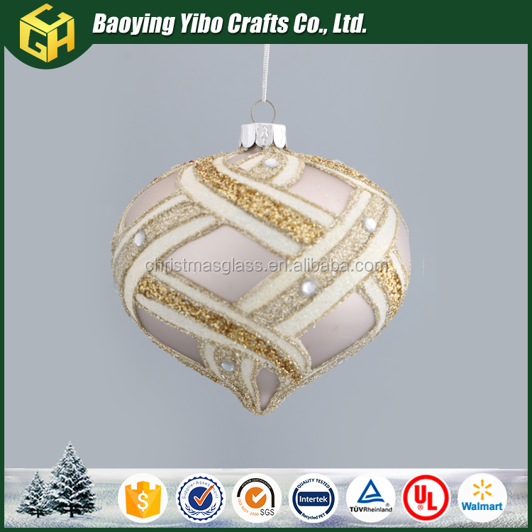Painted onion shaped Christmas glass ball ornamnet wholesale