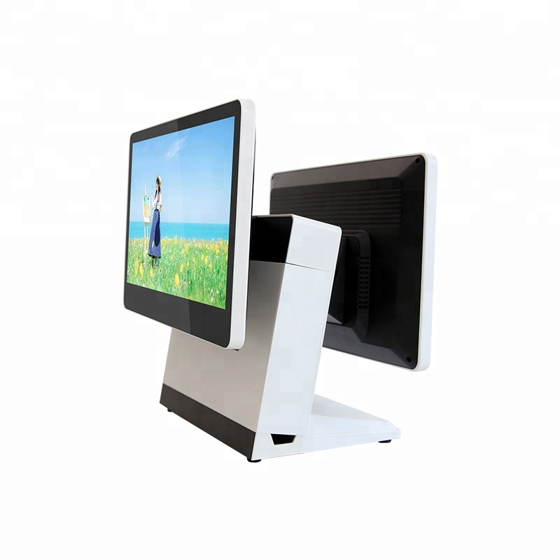 White color/J1900 cpu 15.6inch dual screen POS <strong>computer</strong>
