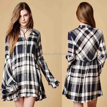 1f6d4a58929 Plaid Dress Girls Women Long Sleeve Plaid Flannel Shirt Dresses Wholesale  Guangzhou Custom Made Short Plaid