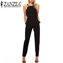2015 Summer Women Casual Elegant Black Back Zipper Hollow Sleeveless Long Playsuits Rompers Womens Jumpsuit Plus Size Overalls