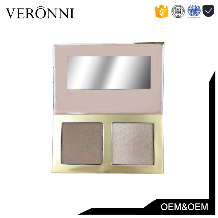 New Arrived Cosmetics Longer-Lasting Private Lable 2colors Eyeshadow Palette Highlighter Makeup