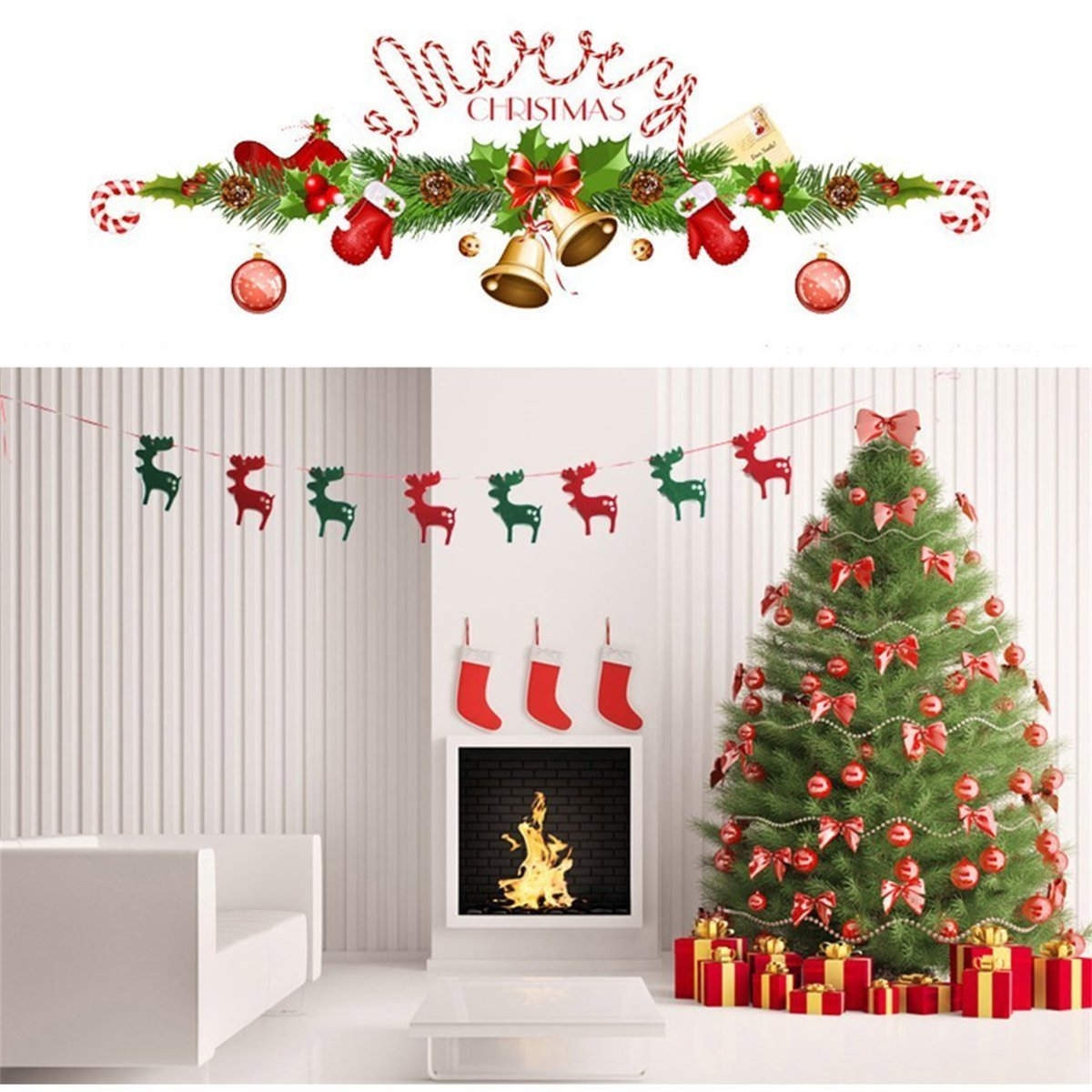Tanxih Christmas Hanging Buntings Banner Garland String Party Flag Christmas Home Decorations to Pull Shops Decorate a Christmas Tree Flags Flying (reindeer)